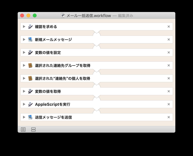 メール一括送信.workflowの全体のアクション