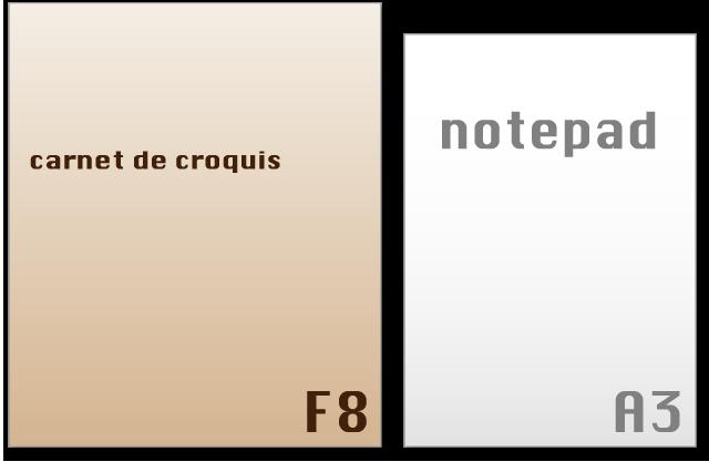 スケッチブックのサイズ F8はA3より大きい