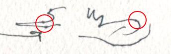 油性ペンに水彩紙で描いた例