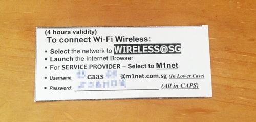 シンガポールでもらった、Wiress@SGのアカウントメモ