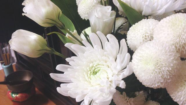 白い菊とバラ
