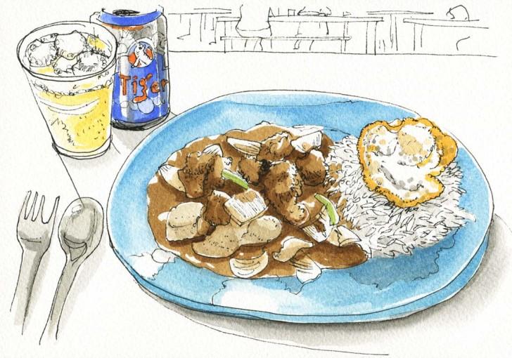ホーカーセンターでのお食事。酢豚的なやつ。